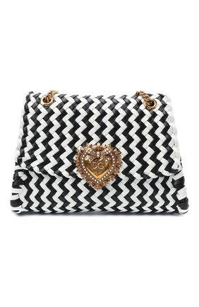 Женская сумка devotion DOLCE & GABBANA черно-белого цвета, арт. BB6728/A0327   Фото 1 (Ремень/цепочка: С цепочкой, На ремешке; Размер: medium; Материал: Натуральная кожа; Сумки-технические: Сумки через плечо)
