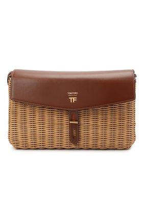 Женская сумка t-twist medium TOM FORD коричневого цвета, арт. L1441T-IRT001   Фото 1 (Ремень/цепочка: На ремешке; Сумки-технические: Сумки через плечо; Размер: medium)
