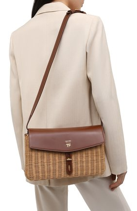 Женская сумка t-twist medium TOM FORD коричневого цвета, арт. L1441T-IRT001   Фото 2 (Ремень/цепочка: На ремешке; Сумки-технические: Сумки через плечо; Размер: medium)
