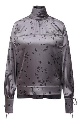 Женская шелковая блузка GANNI серого цвета, арт. F5814 | Фото 1
