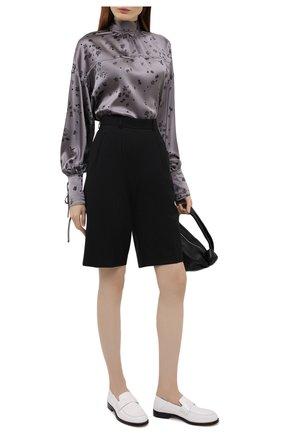 Женская шелковая блузка GANNI серого цвета, арт. F5814 | Фото 2