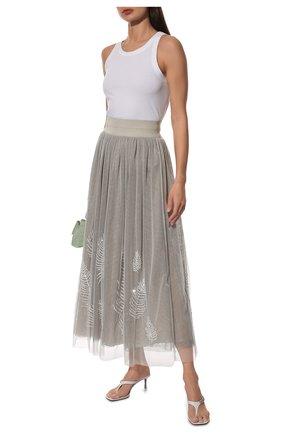 Женская юбка LORENA ANTONIAZZI серого цвета, арт. E2126G0021/3389 | Фото 2
