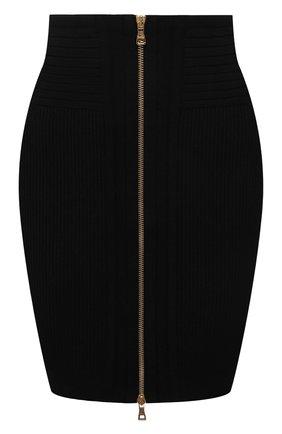 Женская юбка из вискозы BALMAIN черного цвета, арт. VF0LB010/K211 | Фото 1