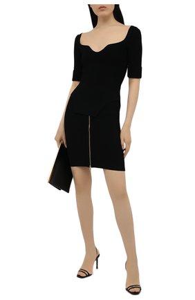 Женская юбка из вискозы BALMAIN черного цвета, арт. VF0LB010/K211 | Фото 2