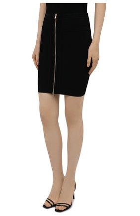 Женская юбка из вискозы BALMAIN черного цвета, арт. VF0LB010/K211 | Фото 3