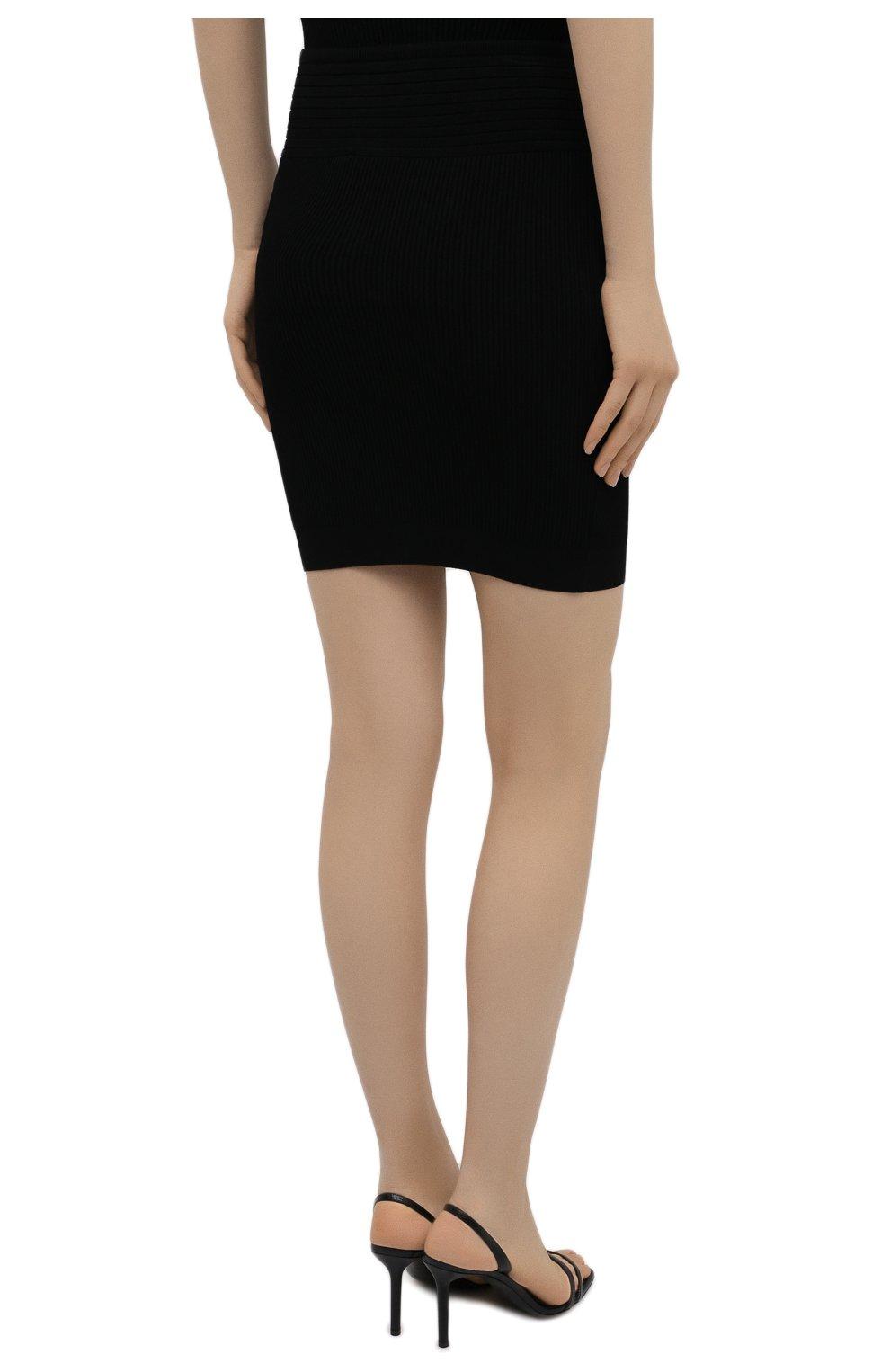 Женская юбка из вискозы BALMAIN черного цвета, арт. VF0LB010/K211 | Фото 4