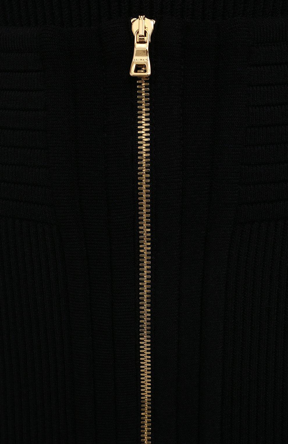 Женская юбка из вискозы BALMAIN черного цвета, арт. VF0LB010/K211 | Фото 5