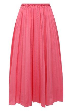 Женская плиссированная юбка REDVALENTINO розового цвета, арт. VR0RAC20/LUN   Фото 1 (Материал внешний: Синтетический материал, Хлопок; Женское Кросс-КТ: Юбка-одежда, юбка-плиссе; Стили: Романтичный; Длина Ж (юбки, платья, шорты): Миди)