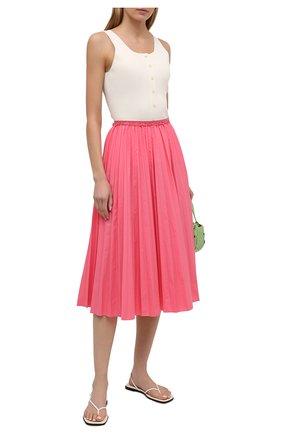 Женская плиссированная юбка REDVALENTINO розового цвета, арт. VR0RAC20/LUN   Фото 2 (Материал внешний: Синтетический материал, Хлопок; Женское Кросс-КТ: Юбка-одежда, юбка-плиссе; Стили: Романтичный; Длина Ж (юбки, платья, шорты): Миди)