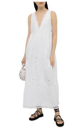 Женское хлопковое платье ERMANNO FIRENZE белого цвета, арт. D38ET AB46SAN | Фото 2