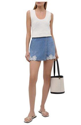 Женская джинсовая юбка-шорты ERMANNO FIRENZE голубого цвета, арт. D38ET GJ020PR | Фото 2