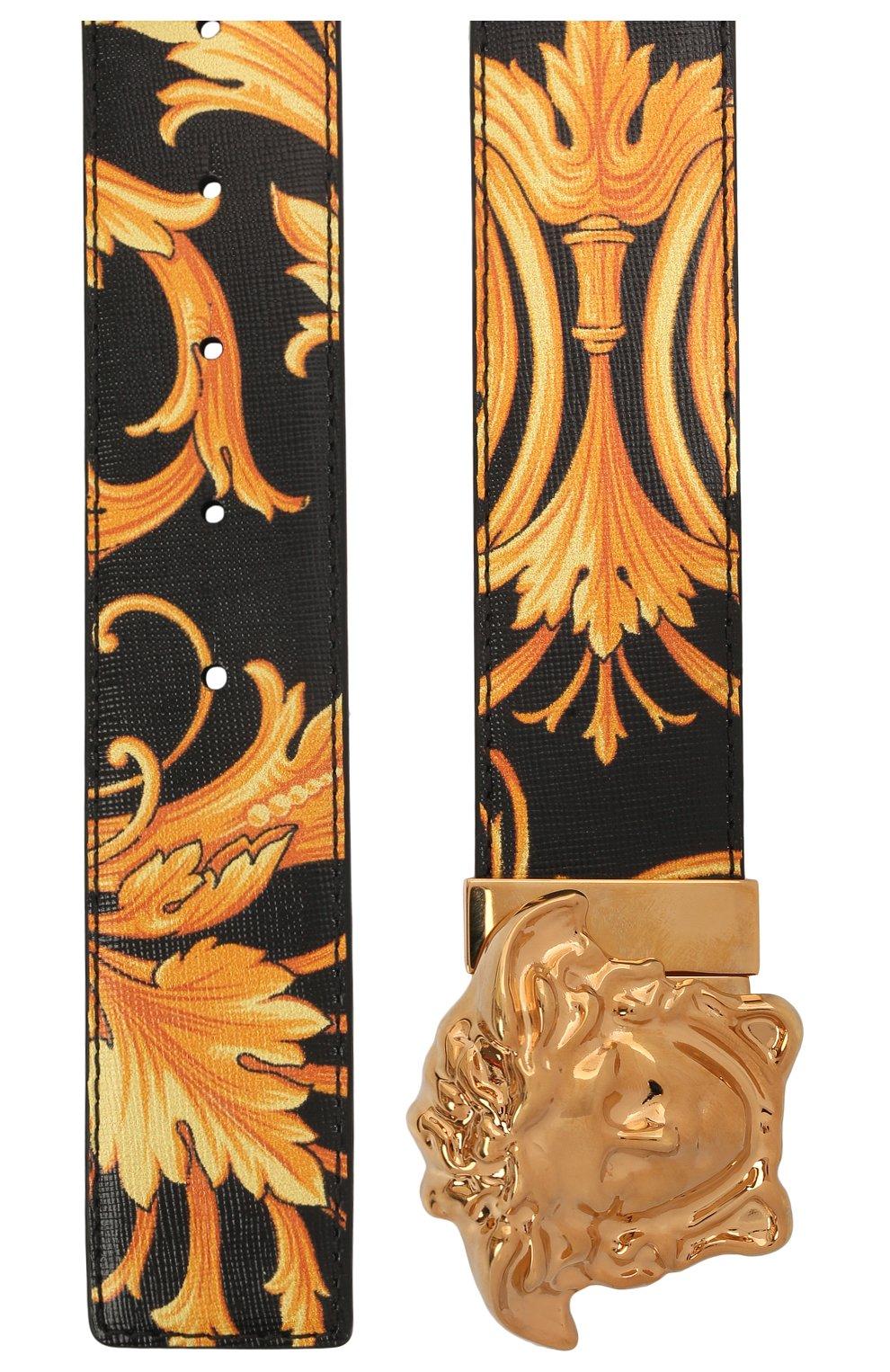 Мужской кожаный ремень medusa VERSACE золотого цвета, арт. DCU6705/DVTSA8 | Фото 2 (Случай: Повседневный)