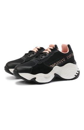 Женские комбинированные кроссовки EMPORIO ARMANI черного цвета, арт. X3X088/XM690 | Фото 1