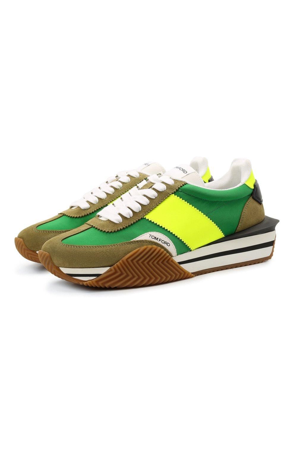 Мужские комбинированные кроссовки TOM FORD зеленого цвета, арт. J1292T-LCL134 | Фото 1 (Материал внешний: Текстиль; Стили: Гранж; Материал внутренний: Текстиль; Подошва: Массивная)