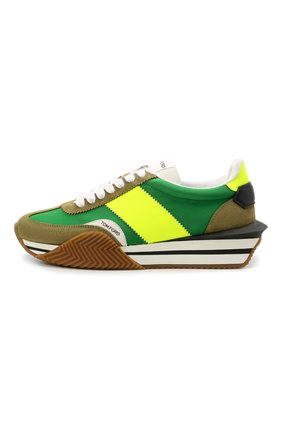 Мужские комбинированные кроссовки TOM FORD зеленого цвета, арт. J1292T-LCL134 | Фото 3 (Материал внешний: Текстиль; Стили: Гранж; Материал внутренний: Текстиль; Подошва: Массивная)