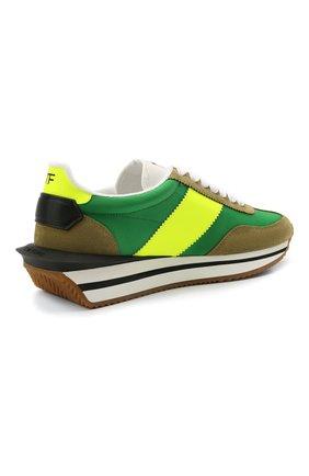 Мужские комбинированные кроссовки TOM FORD зеленого цвета, арт. J1292T-LCL134 | Фото 4 (Материал внешний: Текстиль; Стили: Гранж; Материал внутренний: Текстиль; Подошва: Массивная)