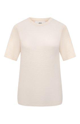 Женская хлопковая футболка AMI светло-бежевого цвета, арт. E21FJ120.712 | Фото 1