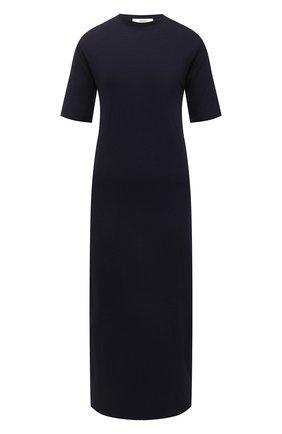 Женское платье из хлопка и вискозы AMI темно-синего цвета, арт. E21FJ620.712 | Фото 1