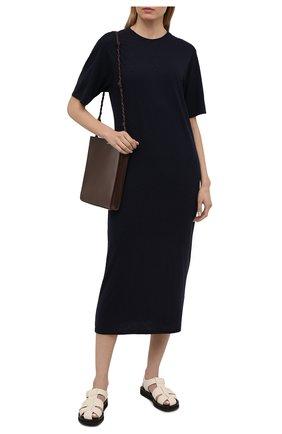 Женское платье из хлопка и вискозы AMI темно-синего цвета, арт. E21FJ620.712 | Фото 2