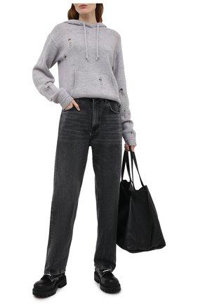 Женский шерстяное худи HELMUT LANG серого цвета, арт. L01HW702 | Фото 2