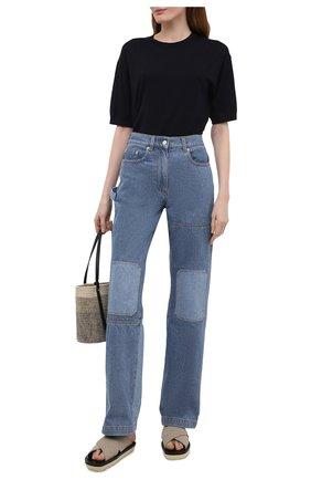 Женская хлопковая футболка THEORY темно-синего цвета, арт. L0214713 | Фото 2