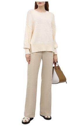 Женский хлопковый свитер THEORY светло-бежевого цвета, арт. L0214715 | Фото 2