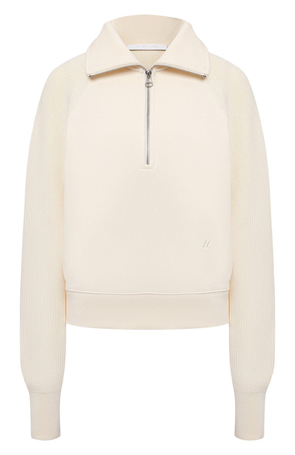 Женский хлопковый пуловер HELMUT LANG светло-бежевого цвета, арт. L02HW501   Фото 1