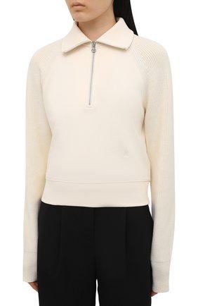 Женский хлопковый пуловер HELMUT LANG светло-бежевого цвета, арт. L02HW501   Фото 3