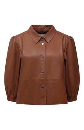 Женская кожаная куртка MAX&MOI коричневого цвета, арт. E21VALENE | Фото 1