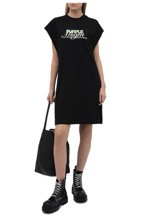 Женское хлопковое платье MSGM черного цвета, арт. 3042MDA173 217498 | Фото 2