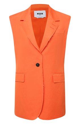 Женский хлопковый жилет MSGM оранжевого цвета, арт. 3042MDG106 217300 | Фото 1