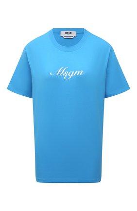 Женская хлопковая футболка MSGM голубого цвета, арт. 3042MDM207 217498 | Фото 1