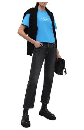 Женская хлопковая футболка MSGM голубого цвета, арт. 3042MDM207 217498 | Фото 2