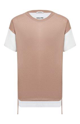 Женская шерстяная футболка MAX&MOI бежевого цвета, арт. E21PERINA   Фото 1 (Материал внешний: Шерсть; Принт: Без принта; Женское Кросс-КТ: Футболка-одежда; Рукава: Короткие; Длина (для топов): Удлиненные; Стили: Кэжуэл)