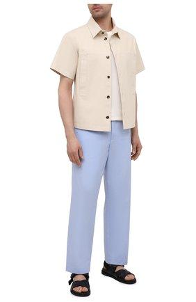Мужские хлопковые брюки DRIES VAN NOTEN голубого цвета, арт. 211-20930-2228 | Фото 2