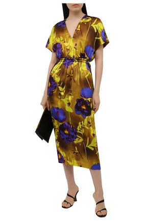 Женское платье из вискозы DRIES VAN NOTEN желтого цвета, арт. 211-11088-2089 | Фото 2