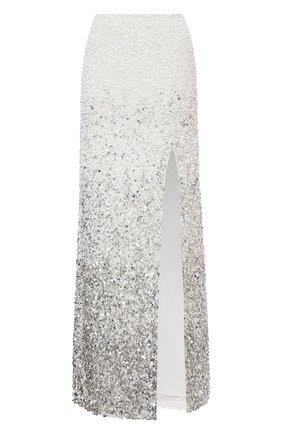 Женская юбка с пайетками ALICE + OLIVIA серебряного цвета, арт. CG102E39304 | Фото 1