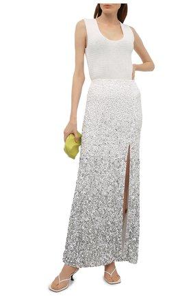 Женская юбка с пайетками ALICE + OLIVIA серебряного цвета, арт. CG102E39304   Фото 2