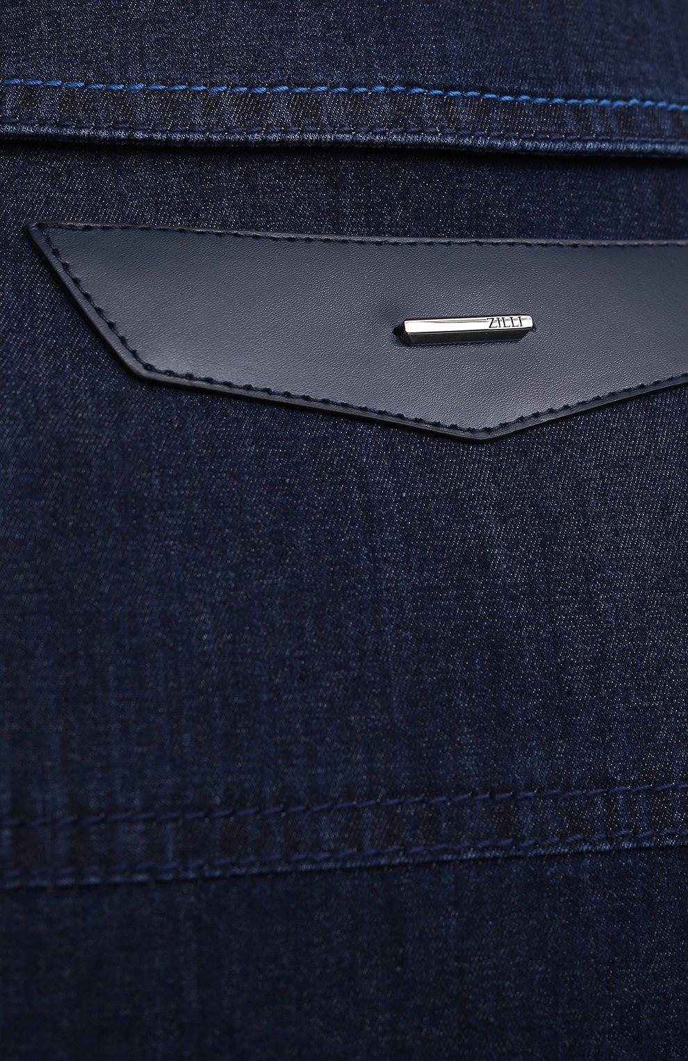 Мужская джинсовая куртка ZILLI темно-синего цвета, арт. MCV-00078-ULBL1/0001   Фото 5