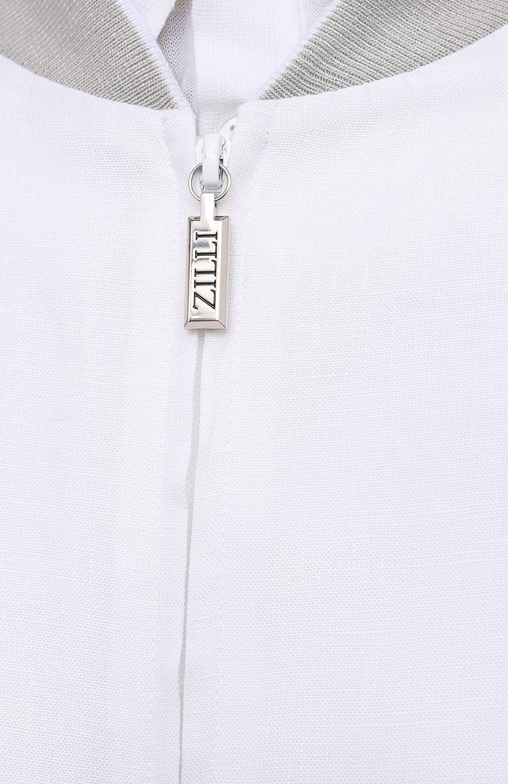 Мужской льняной бомбер ZILLI белого цвета, арт. MFV-17093-6018/0018 | Фото 5