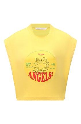 Женский хлопковый топ PALM ANGELS желтого цвета, арт. PWAA038S21JER0021825 | Фото 1