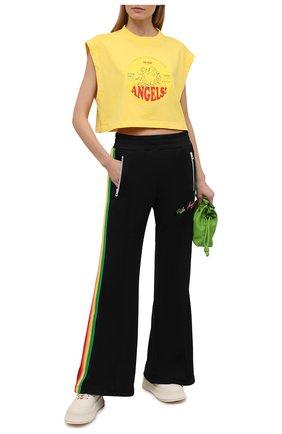 Женский хлопковый топ PALM ANGELS желтого цвета, арт. PWAA038S21JER0021825 | Фото 2