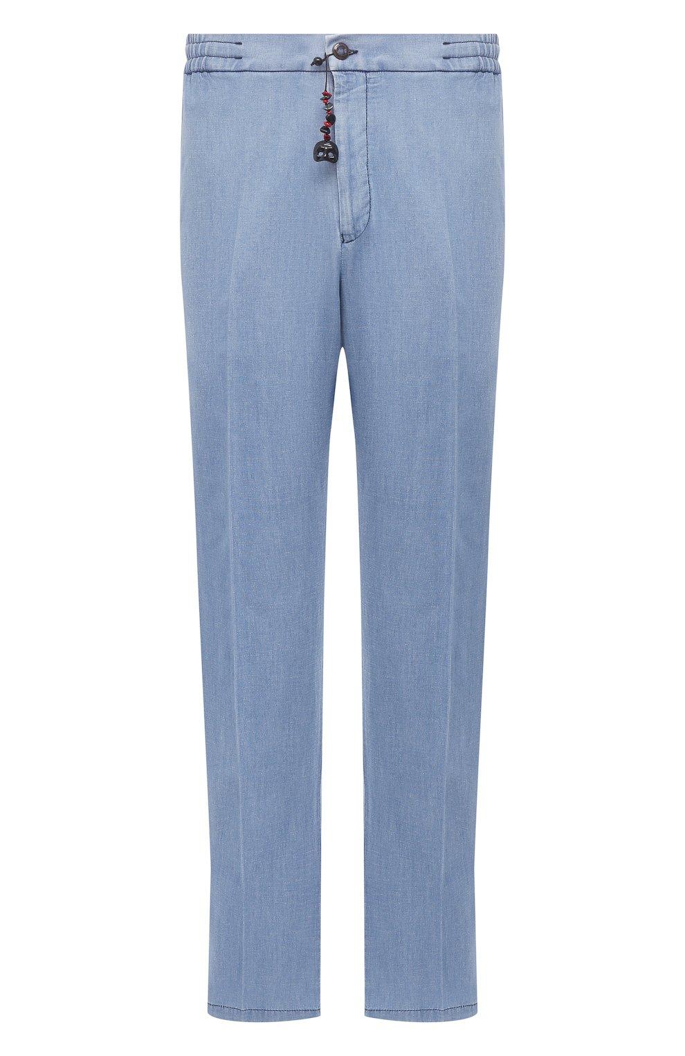 Мужские брюки из хлопка и льна MARCO PESCAROLO голубого цвета, арт. CHIAIAM/43J09 | Фото 1 (Big sizes: Big Sizes; Длина (брюки, джинсы): Стандартные; Случай: Повседневный; Материал внешний: Хлопок; Стили: Кэжуэл)
