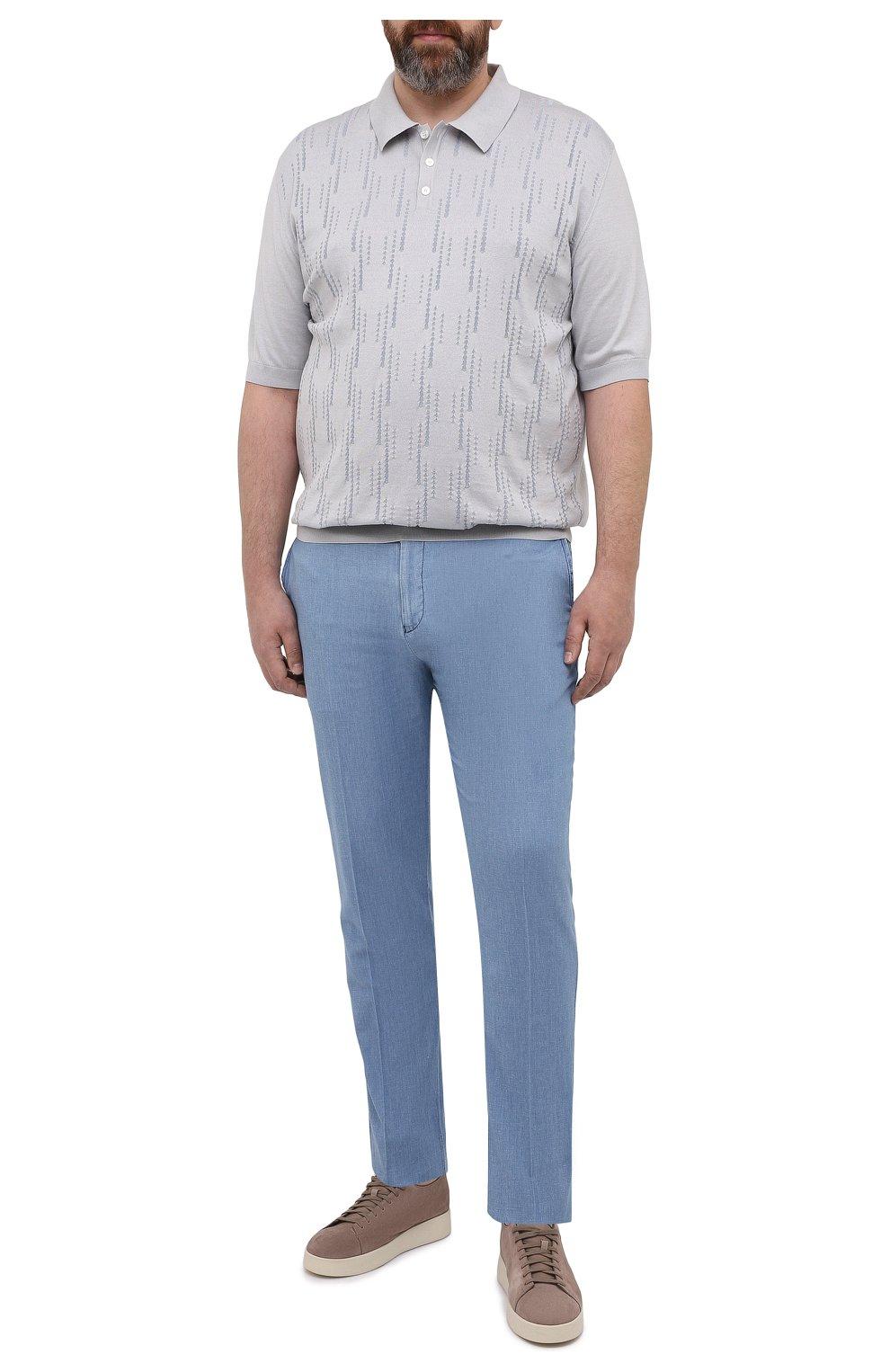 Мужские брюки из хлопка и льна MARCO PESCAROLO голубого цвета, арт. CHIAIAM/43J09 | Фото 2 (Big sizes: Big Sizes; Длина (брюки, джинсы): Стандартные; Случай: Повседневный; Материал внешний: Хлопок; Стили: Кэжуэл)