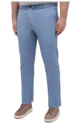 Мужские брюки из хлопка и льна MARCO PESCAROLO голубого цвета, арт. CHIAIAM/43J09 | Фото 3 (Big sizes: Big Sizes; Длина (брюки, джинсы): Стандартные; Случай: Повседневный; Материал внешний: Хлопок; Стили: Кэжуэл)