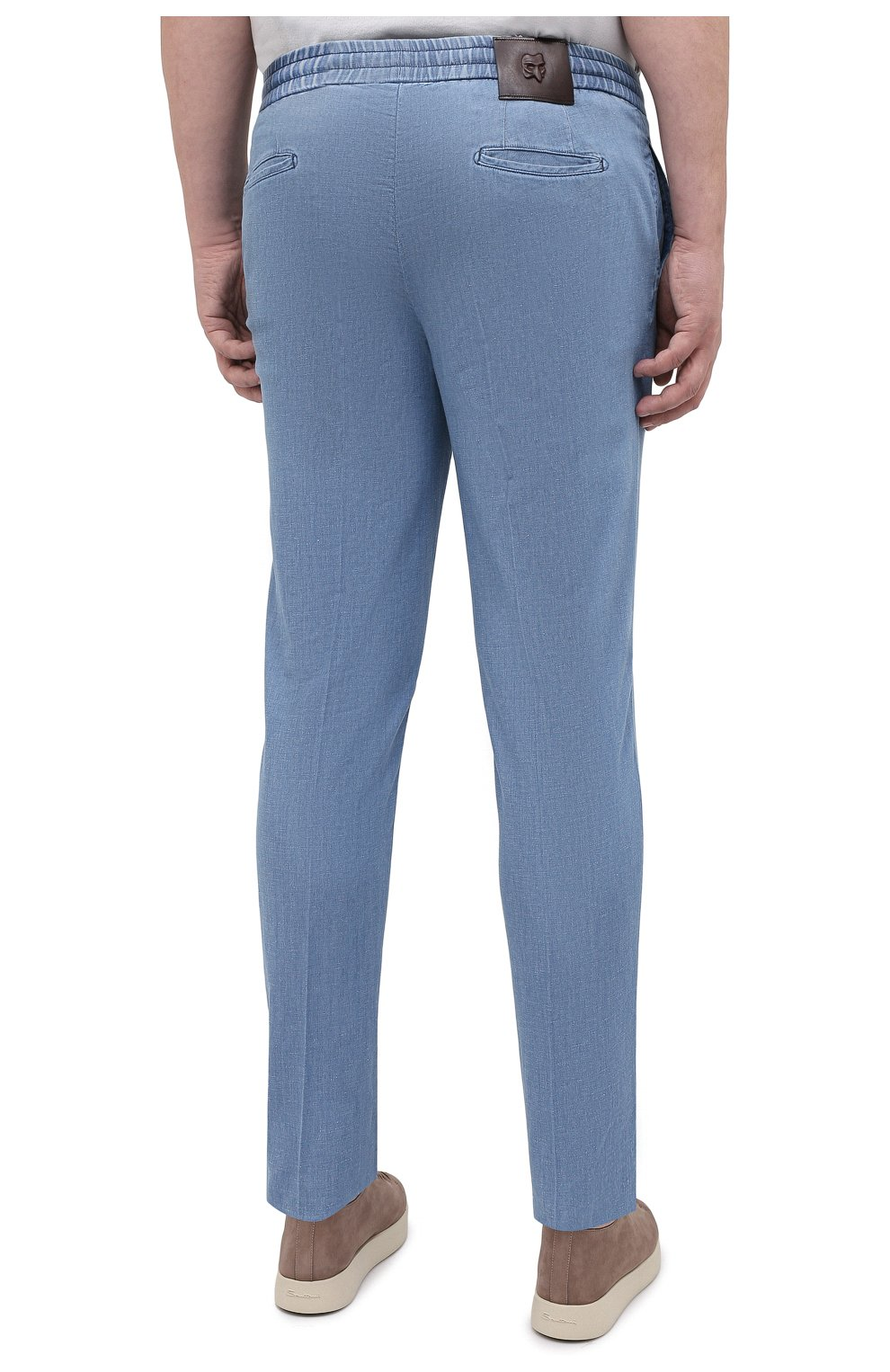 Мужские брюки из хлопка и льна MARCO PESCAROLO голубого цвета, арт. CHIAIAM/43J09 | Фото 4 (Big sizes: Big Sizes; Длина (брюки, джинсы): Стандартные; Случай: Повседневный; Материал внешний: Хлопок; Стили: Кэжуэл)