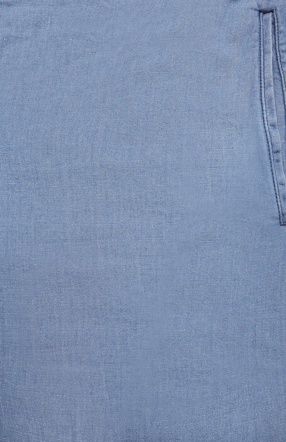 Мужские брюки из хлопка и льна MARCO PESCAROLO голубого цвета, арт. CHIAIAM/43J09 | Фото 5 (Big sizes: Big Sizes; Длина (брюки, джинсы): Стандартные; Случай: Повседневный; Материал внешний: Хлопок; Стили: Кэжуэл)