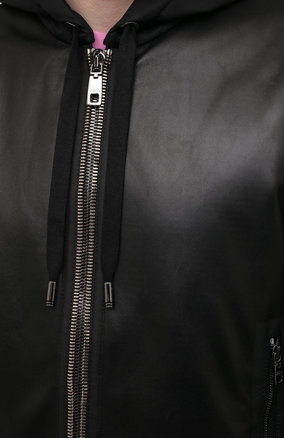Мужской комбинированный бомбер DOLCE & GABBANA черного цвета, арт. G9US3L/GE040 | Фото 5