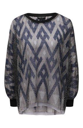 Женская блузка из шелка и вискозы GIORGIO ARMANI темно-синего цвета, арт. 1SHCCZ13/TZ818 | Фото 1