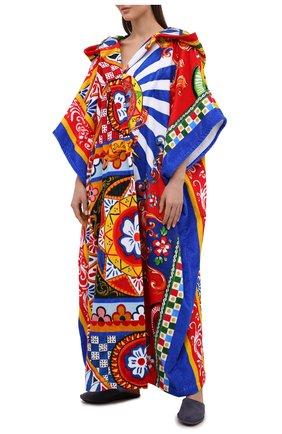 Женский хлопковый халат DOLCE & GABBANA разноцветного цвета, арт. 00A08J/0NI55   Фото 2